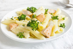 Pasta penne with chicken, broccoli Royalty Free Stock Photo