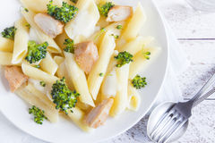 Pasta penne with chicken, broccoli Royalty Free Stock Image