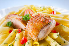 Pasta. penne with chicken Royalty Free Stock Photos