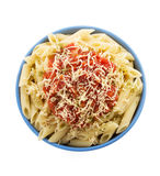 Pasta Penne in plate on white Royalty Free Stock Image