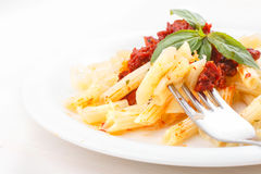 Pasta penne rigate with copyspace Stock Photos