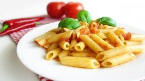 Pasta Penne Tomato Sauce Basil Royalty Free Stock Photos