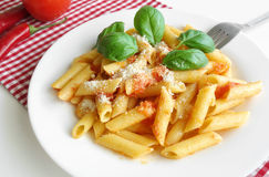 Pasta Penne Tomato Sauce Basil Parmesan Royalty Free Stock Photo