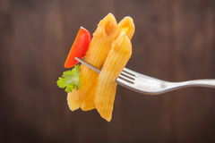 Pasta penne with tomato sauce, Italian food Royalty Free Stock Photo