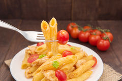 Pasta penne with tomato sauce, Italian food. Stock Photo