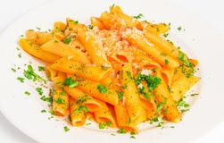 Pasta penne with tomato sauce royalty free stock photo