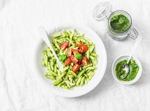 Free Pasta Penne With Arugula Pesto And Cherry Tomatoes On Light Background Stock Image - 110593351
