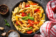Pasta Penne With Chiken And Vegetables. Stock Photos