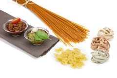 Pasta with pesto. Different kinds of pasta with pesto two different varieties Royalty Free Stock Photo