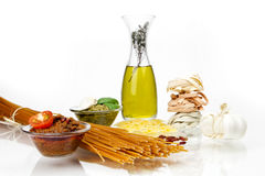 Pasta with pesto. Different kinds of pasta with pesto two different varieties Stock Photos