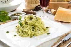 Pasta with Pesto alla genovese. APasta with Pesto alla genovese Stock Image