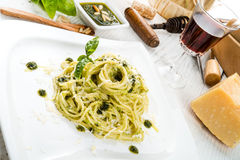Pasta with Pesto alla genovese Royalty Free Stock Photography
