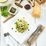 Pasta with Pesto alla genovese Stock Photos