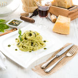 Pasta with Pesto alla genovese Royalty Free Stock Photo