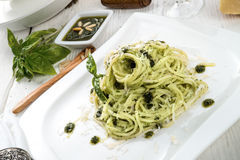 Pasta with Pesto alla genovese Stock Photos
