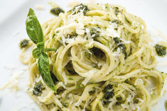 Pasta with Pesto alla genovese. APasta with Pesto alla genovese Stock Photo