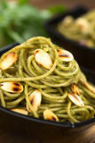 Pasta with Pesto and Almonds stock images