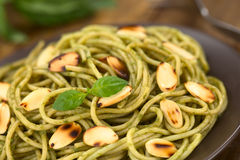Pasta with Pesto and Almonds Royalty Free Stock Photography