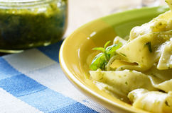 Pasta pesto closeup Stock Images