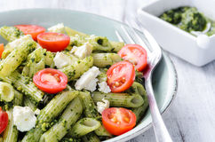 Pasta with pesto and fresh ingredients Royalty Free Stock Photo