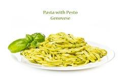Pasta with pesto Genovese Royalty Free Stock Image