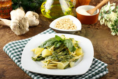 Pasta with pesto, green beans and potatoes Royalty Free Stock Photo