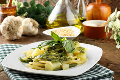 Pasta with pesto, green beans and potatoes Royalty Free Stock Image