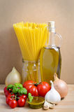 Pasta and pesto ingredients Stock Image