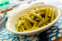 Pasta with pesto for lunch stock photos
