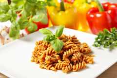 Pasta and pesto Royalty Free Stock Image
