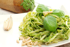 Pasta with pesto recipe Stock Image