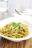 Pasta with pesto sauce Stock Photography