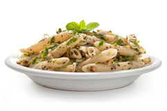 Pasta with pesto sauce Royalty Free Stock Image