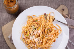 Pasta with pesto sauce Royalty Free Stock Images
