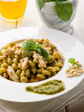 Pasta with pesto sauce and chicken Royalty Free Stock Image