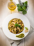Pasta with pesto sauce and chicken Stock Photo