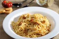 Pasta and pesto sauce Royalty Free Stock Images