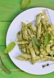 Pasta with pesto sause Royalty Free Stock Photo