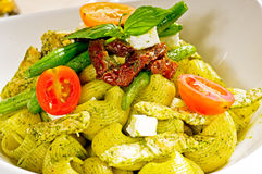 Pasta pesto and vegetables Royalty Free Stock Image