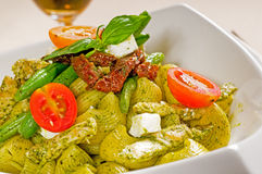 Pasta pesto and vegetables Stock Image