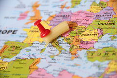 Pasta pin point on Italy royalty free stock photo