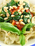 Pasta With Pine Nuts Royalty Free Stock Photography