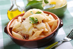 Pasta with beans and pineapple Stock Images