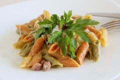 Pasta with pistachio pesto Royalty Free Stock Image