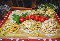 Pasta , pizza and homemade food arrangement outside a restaurant in Rome stock photography