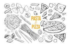 Pasta and Pizza set stock photography