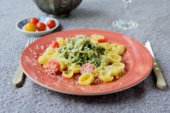 Pasta plate with green Royalty Free Stock Image