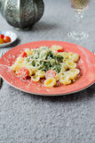 Pasta plate with green Stock Image