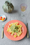 Pasta plate with green Royalty Free Stock Photo