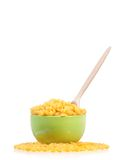 Pasta in green bowl with spoon Stock Photography